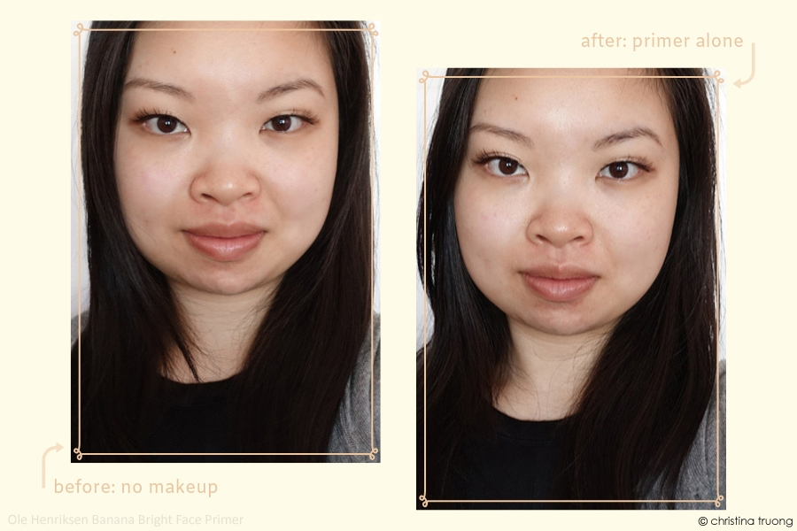 Ole Henriksen Banana Bright Face Primer Review Before After Primer Alone #BrightAway #OleGlow