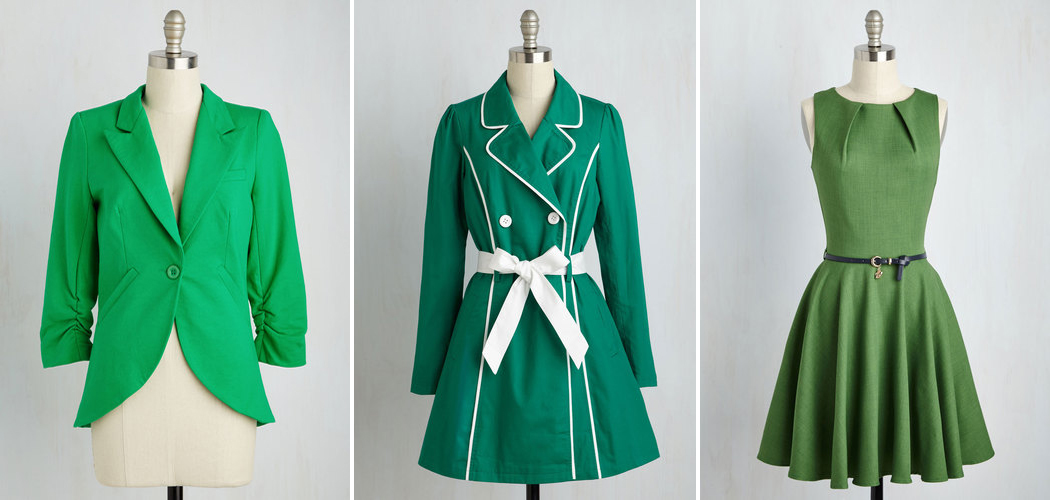 St. Patrick's Day Fashion Inspired Ideas. ModCloth Find and Sandy Blazer in Grass, East Coast Tour Trench in Grass, Luck Be a Lady Dress in Fern