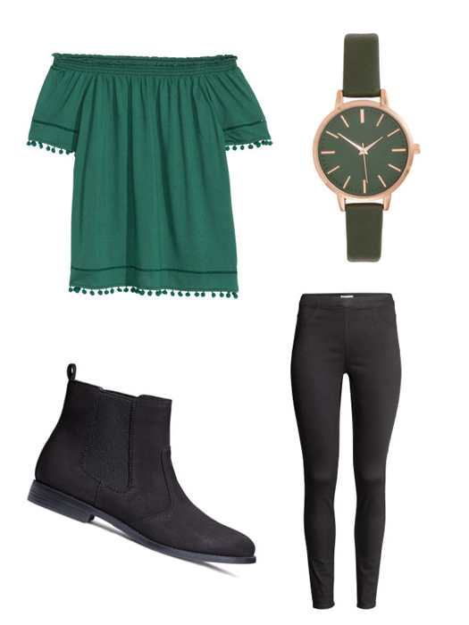 St. Patrick's Day Fashion Inspired Ideas. H&M Green off the shoulder top, dark khaki green watch, chelsea boots, black superstretch treggings