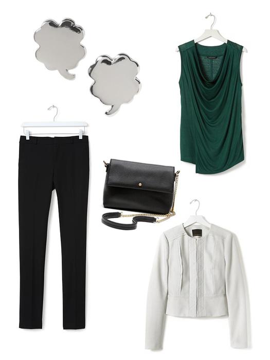 St. Patrick's Day Fashion Inspired Ideas. Banana Republic Clover stud earrings, drapey cowl tank, ryan-fit black slim straight pant, Italian leather chain bag, raw edge peplum jacket