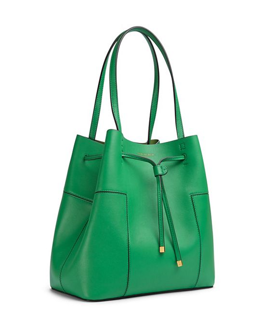 St. Patrick's Day Fashion Inspired Ideas. Tory Burch Block-T Drawstring Tote in Vineyard