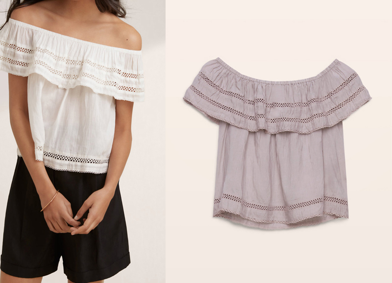 Aritzia Wilfred Hollande Blouse. Favourite off the shoulder fashion style