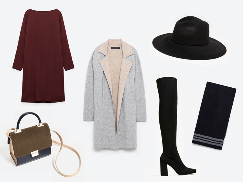 Fall Fashion Favourites Zara Midi Dress, Double Sided Coat, Special Edition Super Soft Touch Wide Brim Hat, Mini City Bag with Split Suede Flap, Stretch Leg High Heel Boots, Striped Scarf