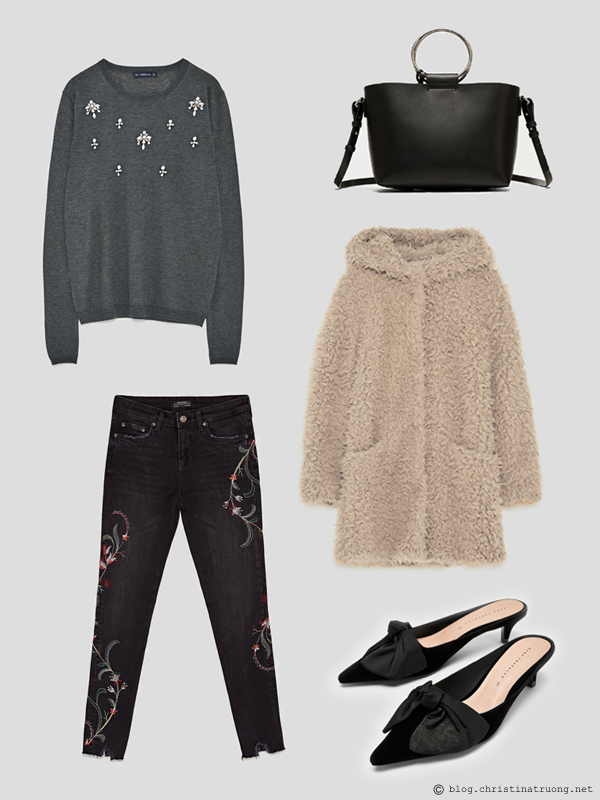 Outfit on a Budget Shop the Sale Winter 2018 outfits for under $200 from Zara Sweater with Bejewelled Appliques. The Skinny Jeans with Floral Embroidery. Kitten Heel Mules with Bow. Mini Tote Bag with Metal Handles. Textured Coat with Hood in Mink