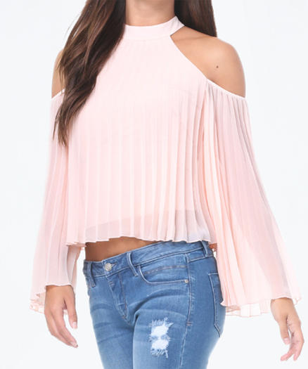 bebe pleated cold shoulder top. Favourite off the shoulder fashion style