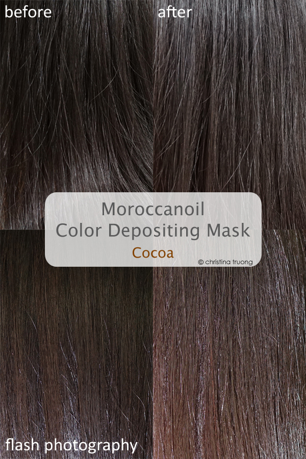 Moroccanoil Color Depositing Mask Cocoa Review Before After Dark Brown Hair