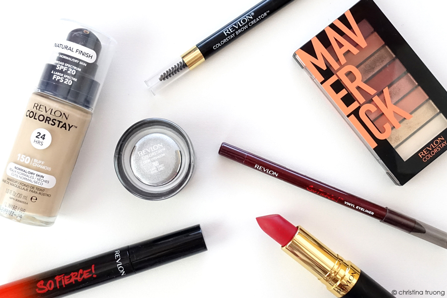 Revlon Ruby Red Remix ColorStay Makeup Foundation Creme Eyeshadow Looks Book Palette Brow Creator So Fierce Mascara Vinyl Eyeliner Super Lustrous Lipstick