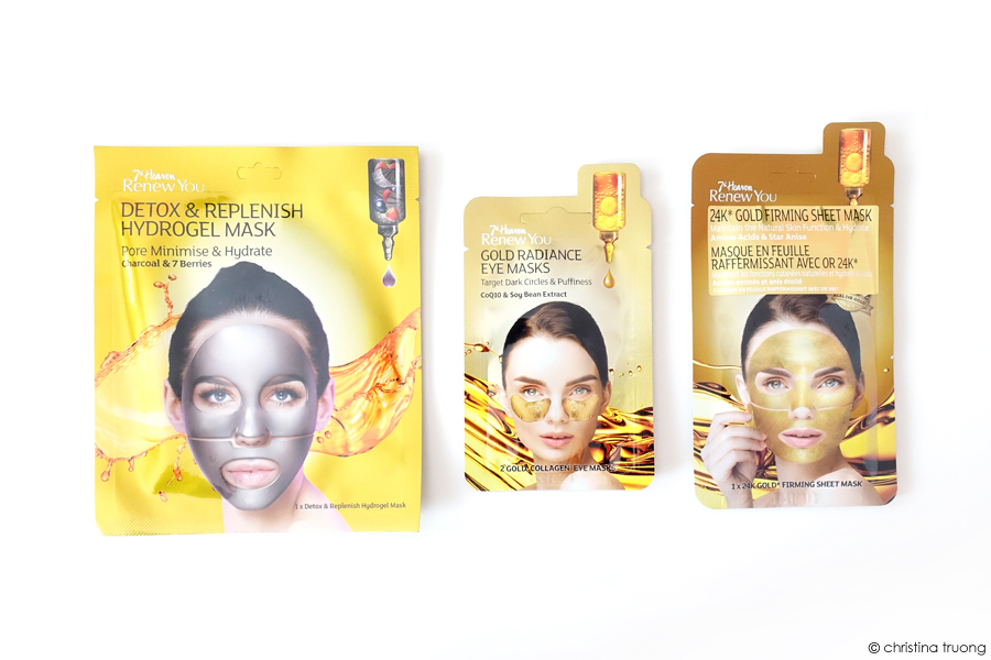 Farleyco Beauty 7th Heaven Renew You Detox & Replenish Hydrogel Mask Gold Collagen Eye Mask 24K Gold Firming Sheet Mask Review