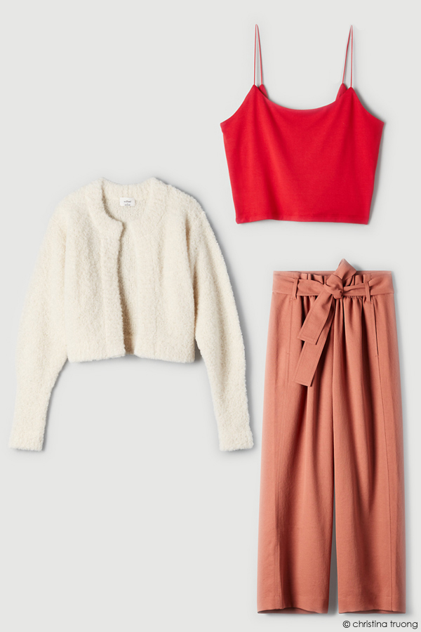 Valentine Style Fashion Lookbook Aritzia Wilfred Free Tiny Tank Melody Alpaca Cardigan Paperbag Pant