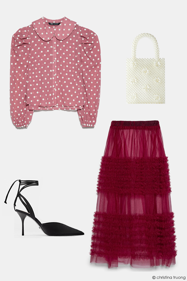 Valentine Style Fashion Lookbook Zara Embroidered Polka Dot Blouse Low Vamp Heeled Shoes Pearl Handbag Ruffled Tulle Skirt