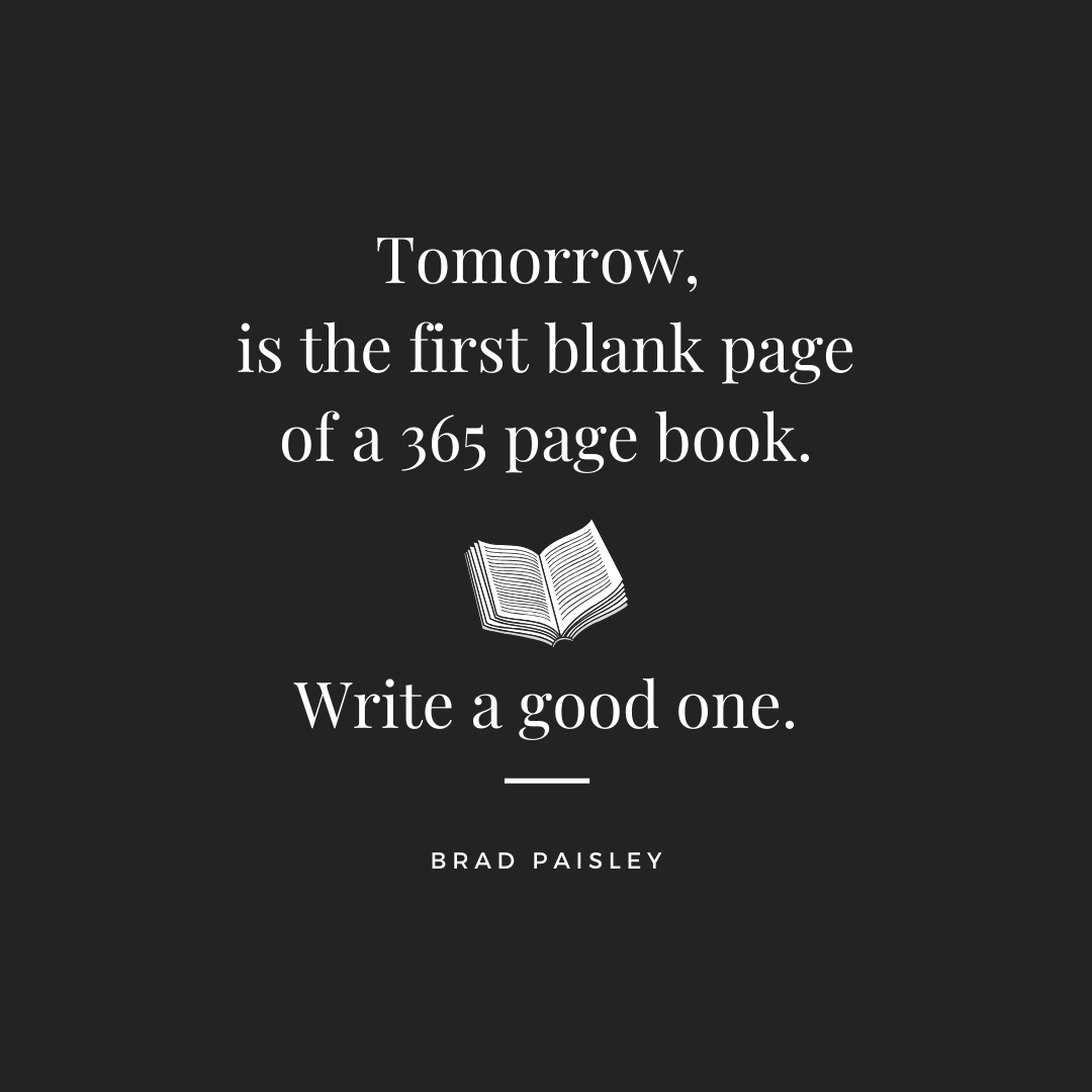 Quote Tomorrow is the first blank page of a 365 page book. Write a good one. Hello 2015 Happy New Year