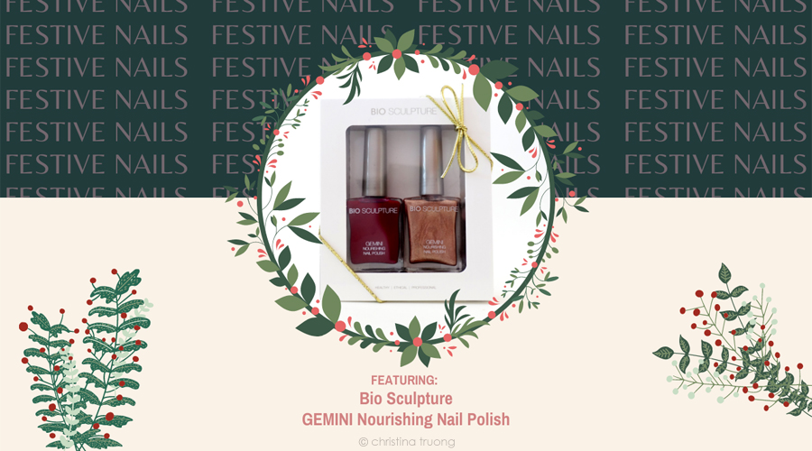 Bio Sculpture GEMINI Nourishing Nail Polish Holiday Festive Nails Swatches 74 Real Red and 169 The Rebel