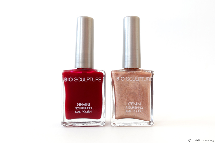 Bio Sculpture Gemini Nourishing Nail Polish Holiday Trends Festive Nails 74 Real Red and 169 The Rebel