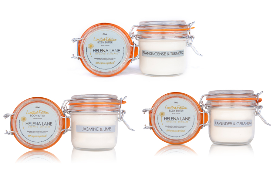 Helena Lane Organic Skincare Limited Edition Frankincense and Turmeric, Jasmine and Lime, Lavender and Geranium Body Butters