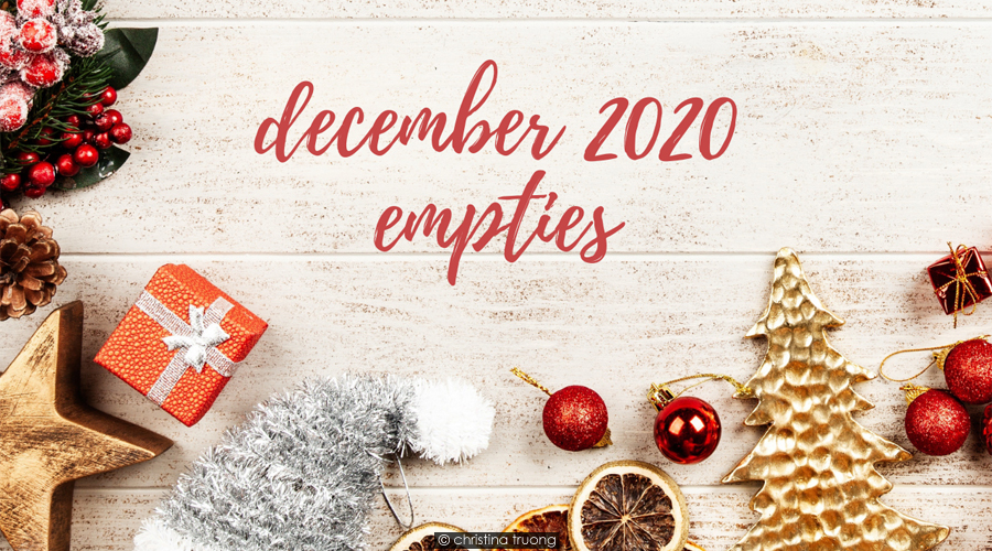 December 2020 Empties Hair Skin Care Products